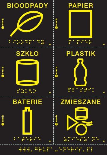 naklejki na pojemniki na śmieci. Każda z nich ma czarne tło, na górze napisy: bioodpady, papier, szkło, plastik, baterie, zmieszane, pod napisem prosty rysunek żółtym obrysem, liścia, kartki papieru, naczynia, butelki, baterii, a na dole napis brajlem również w kolorze żółtym
