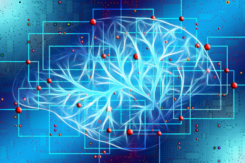 obrazek przedstawia graficzny mózg, na niebieskim tle, widnieje cyfrowy mózg oznaczający sztuczną inteligencję