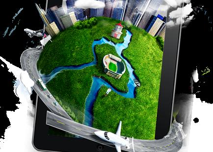 grafika znajdująca się na stronce to tu point, przedstawia smartfona z którego wychodzi kula ziemska z wieżowcami ulicą samolotem i chmurami