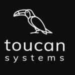 logo toucan system, czyli narysowany liniowo tukan na czarnym tle