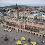 zdjęcie przedstawia rzut z góry na stary rynek w krakowie a dokładnie na sukiennice znak rozpoznawczy Krakowa