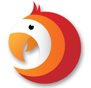 Logo ParrotOne czyli uproszczony rysunek głowy papugi składające się z kolorów: pomarańczowego, czerwonego, białego i czarnego oka