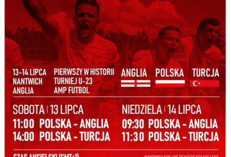 plakat promujący mecze Amp Futbol kadra U23 zagra w Anglii, mecze w sobotę i niedzielę Polska - Anglia, Polska - Turcja