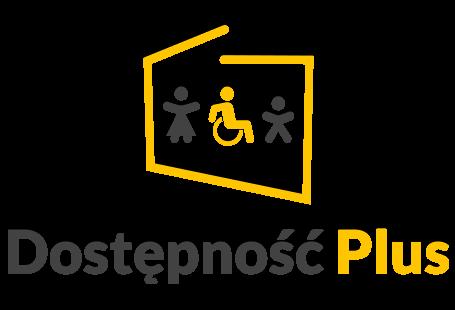 logo programu dostępność plus, czyli uproszczony obrys granic Polski a w nim piktogramy kobiety, osoby na wózku inwalidzkim oraz dziecka. Granice, osoba na wózku oraz słowo PLUS sa koloru żółtego, natomiast pozostałe piktogramy oraz słowo dostępność są szare