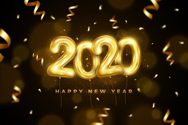tlo z balonami tematycznymi na nowy rok 2020 z napisem happy new year